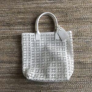 Tory Burch White Laser Cut Tote Bag